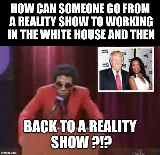 HOW CAN SOMEONE GO FROM A REALITY SHOW TO WORKING IN THE WHITE HOUSE AND THEN BACK TO A REALITY SHOW ?!? | image tagged in amarosa sellout | made w/ Imgflip meme maker