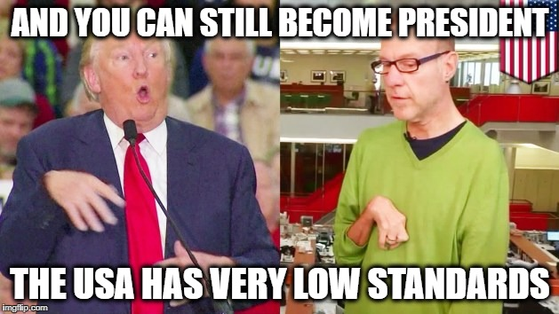 Trump mock | AND YOU CAN STILL BECOME PRESIDENT THE USA HAS VERY LOW STANDARDS | image tagged in trump mock | made w/ Imgflip meme maker