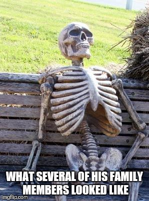 Waiting Skeleton Meme | WHAT SEVERAL OF HIS FAMILY MEMBERS LOOKED LIKE | image tagged in memes,waiting skeleton | made w/ Imgflip meme maker