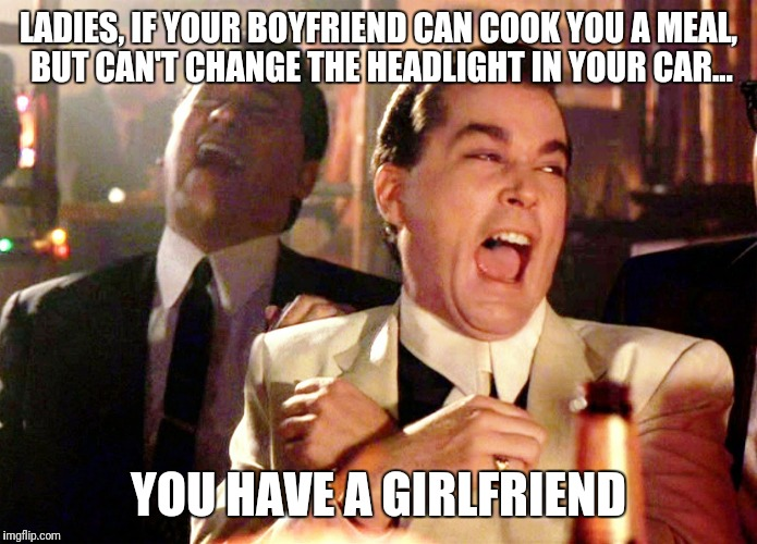 Good Fellas Hilarious Meme | LADIES, IF YOUR BOYFRIEND CAN COOK YOU A MEAL, BUT CAN'T CHANGE THE HEADLIGHT IN YOUR CAR... YOU HAVE A GIRLFRIEND | image tagged in memes,good fellas hilarious | made w/ Imgflip meme maker