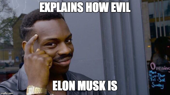 Roll Safe Think About It Meme | EXPLAINS HOW EVIL ELON MUSK IS | image tagged in memes,roll safe think about it | made w/ Imgflip meme maker