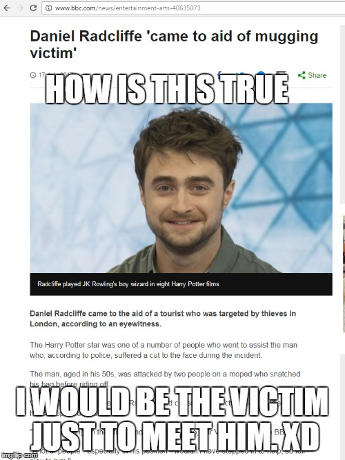 HOW IS THIS TRUE I WOULD BE THE VICTIM JUST TO MEET HIM. XD | image tagged in daniel radcliffe,you're a wizard harry | made w/ Imgflip meme maker