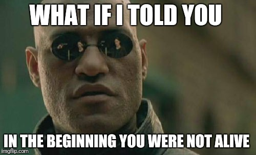 Matrix Morpheus Meme | WHAT IF I TOLD YOU IN THE BEGINNING YOU WERE NOT ALIVE | image tagged in memes,matrix morpheus | made w/ Imgflip meme maker