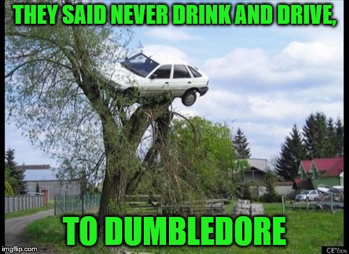 J.K Rowling's new book, Dumbledore's freshmen years: | THEY SAID NEVER DRINK AND DRIVE, TO DUMBLEDORE | image tagged in memes,secure parking,don't drink and drive,dumbledore,harry potter | made w/ Imgflip meme maker