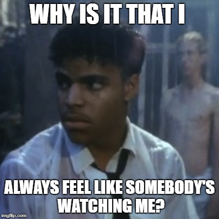 Somebody's watching me | WHY IS IT THAT I ALWAYS FEEL LIKE SOMEBODY'S WATCHING ME? | image tagged in somebody's watching me | made w/ Imgflip meme maker