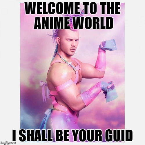 Unicorn Guy |  WELCOME TO THE ANIME WORLD; I SHALL BE YOUR GUID | image tagged in unicorn guy | made w/ Imgflip meme maker