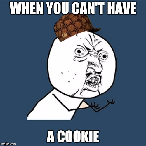 Y U No Meme | WHEN YOU CAN'T HAVE A COOKIE | image tagged in memes,y u no,scumbag | made w/ Imgflip meme maker
