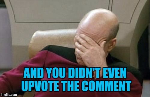 Captain Picard Facepalm Meme | AND YOU DIDN'T EVEN UPVOTE THE COMMENT | image tagged in memes,captain picard facepalm | made w/ Imgflip meme maker