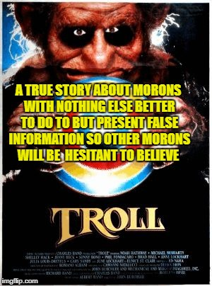 A TRUE STORY ABOUT MORONS WITH NOTHING ELSE BETTER TO DO TO BUT PRESENT FALSE INFORMATION SO OTHER MORONS WILL BE  HESITANT TO BELIEVE | image tagged in troll movie poster | made w/ Imgflip meme maker