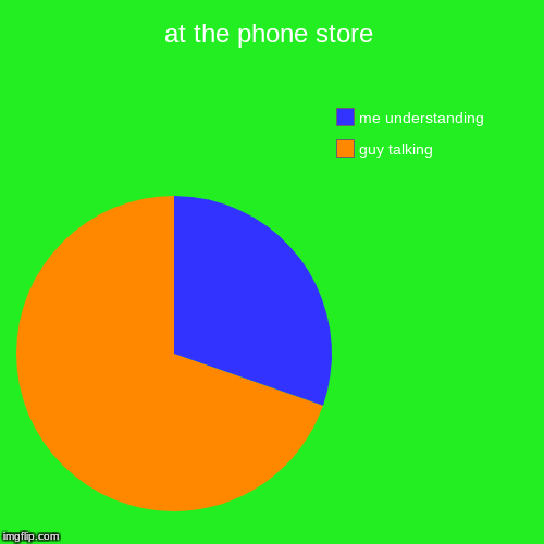 at the phone store | guy talking, me understanding | image tagged in funny,pie charts | made w/ Imgflip pie chart maker
