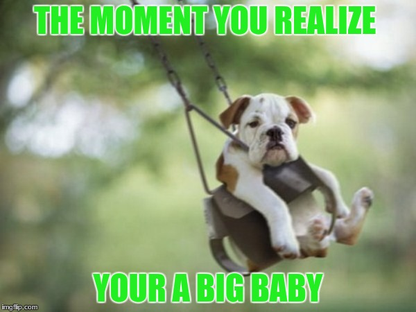 big baby | THE MOMENT YOU REALIZE YOUR A BIG BABY | image tagged in the moment you realize | made w/ Imgflip meme maker