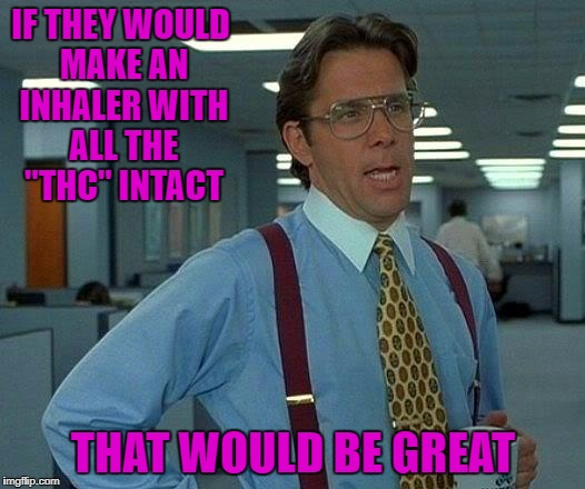 "That Would Be Great Meme | IF THEY WOULD MAKE AN INHALER WITH ALL THE ""THC"" INTACT THAT WOULD BE GREAT 