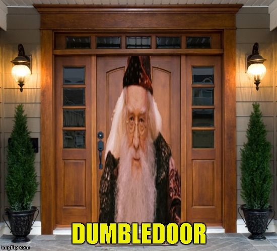 DUMBLEDOOR | image tagged in memes,harry potter,dumbledore,funny,powermetalhead,door | made w/ Imgflip meme maker