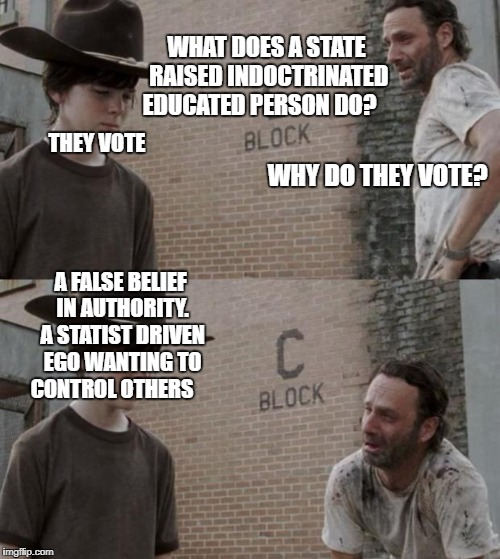 Rick and Carl | WHAT DOES A STATE RAISED INDOCTRINATED EDUCATED PERSON DO? THEY VOTE WHY DO THEY VOTE? A FALSE BELIEF IN AUTHORITY. A STATIST DRIVEN EGO WAN | image tagged in memes,rick and carl | made w/ Imgflip meme maker
