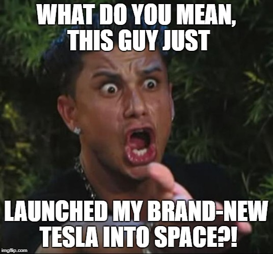 Some people are just weird! | WHAT DO YOU MEAN, THIS GUY JUST LAUNCHED MY BRAND-NEW TESLA INTO SPACE?! | image tagged in memes,dj pauly d,tesla | made w/ Imgflip meme maker