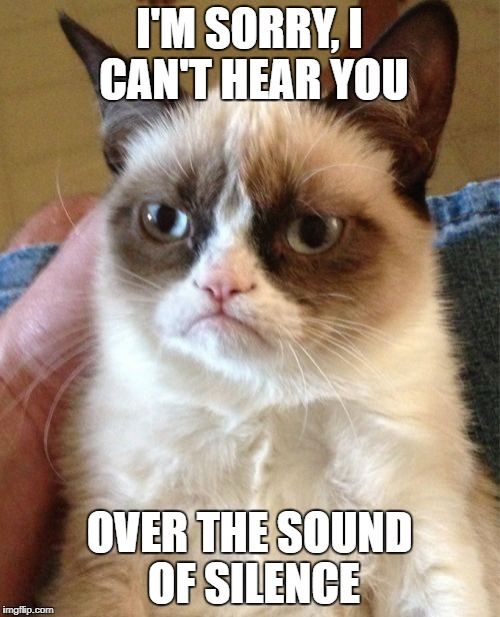Grumpy Cat Meme | I'M SORRY, I CAN'T HEAR YOU OVER THE SOUND OF SILENCE | image tagged in memes,grumpy cat | made w/ Imgflip meme maker