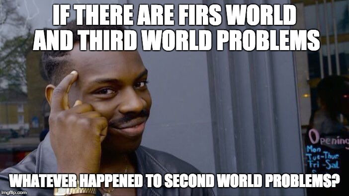 Roll Safe Think About It Meme | IF THERE ARE FIRS WORLD AND THIRD WORLD PROBLEMS WHATEVER HAPPENED TO SECOND WORLD PROBLEMS? | image tagged in memes,roll safe think about it | made w/ Imgflip meme maker