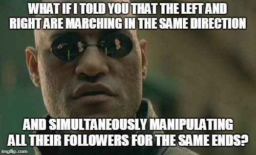 Matrix Morpheus Meme | WHAT IF I TOLD YOU THAT THE LEFT AND RIGHT ARE MARCHING IN THE SAME DIRECTION AND SIMULTANEOUSLY MANIPULATING ALL THEIR FOLLOWERS FOR THE SA | image tagged in memes,matrix morpheus | made w/ Imgflip meme maker