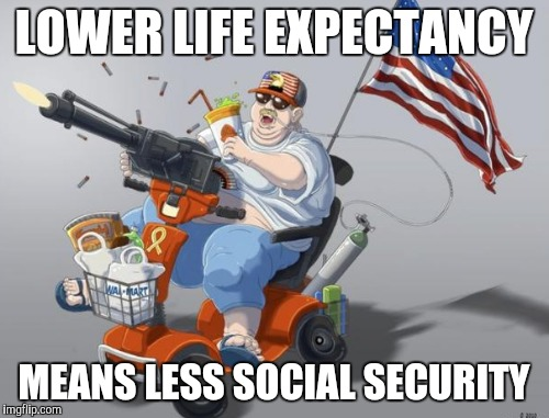 LOWER LIFE EXPECTANCY MEANS LESS SOCIAL SECURITY | made w/ Imgflip meme maker