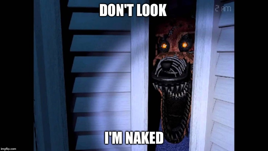 Foxy says don't look I'm naked | DON'T LOOK I'M NAKED | image tagged in foxy fnaf 4,foxy,funny memes | made w/ Imgflip meme maker