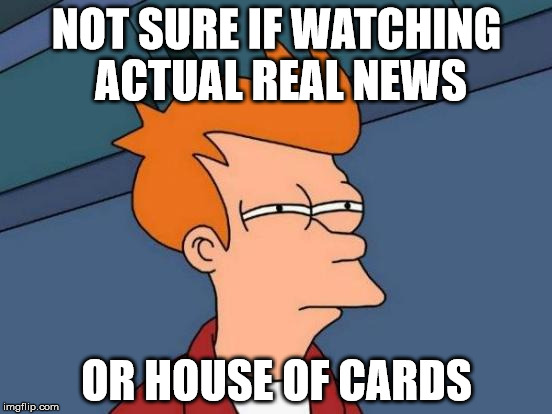Futurama Fry Meme | NOT SURE IF WATCHING ACTUAL REAL NEWS OR HOUSE OF CARDS | image tagged in memes,futurama fry | made w/ Imgflip meme maker