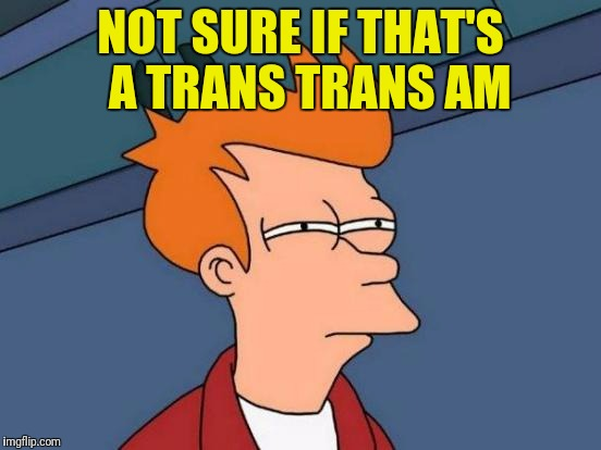 Futurama Fry Meme | NOT SURE IF THAT'S  A TRANS TRANS AM | image tagged in memes,futurama fry | made w/ Imgflip meme maker