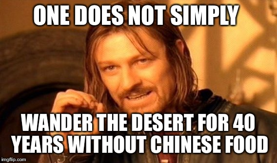 One Does Not Simply Meme | ONE DOES NOT SIMPLY WANDER THE DESERT FOR 40 YEARS WITHOUT CHINESE FOOD | image tagged in memes,one does not simply | made w/ Imgflip meme maker