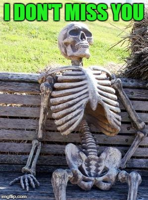 Waiting Skeleton Meme | I DON'T MISS YOU | image tagged in memes,waiting skeleton | made w/ Imgflip meme maker