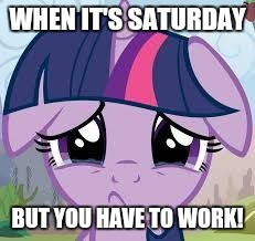 Dang it! | WHEN IT'S SATURDAY BUT YOU HAVE TO WORK! | image tagged in sad twilight,memes,work,dang it | made w/ Imgflip meme maker