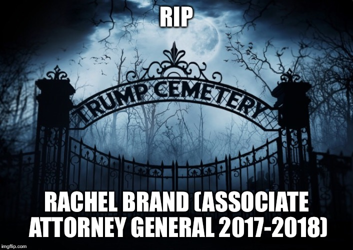 RIP Rachel Brand | RIP RACHEL BRAND (ASSOCIATE ATTORNEY GENERAL 2017-2018) | image tagged in rachel brand,donald trump,trump administration,rip | made w/ Imgflip meme maker