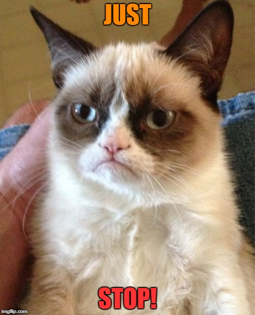 Grumpy Cat Meme | JUST STOP! | image tagged in memes,grumpy cat | made w/ Imgflip meme maker