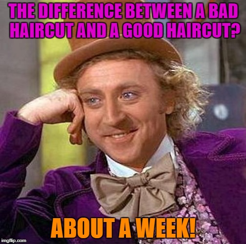 Creepy Condescending Wonka Meme | THE DIFFERENCE BETWEEN A BAD HAIRCUT AND A GOOD HAIRCUT? ABOUT A WEEK! | image tagged in memes,creepy condescending wonka | made w/ Imgflip meme maker
