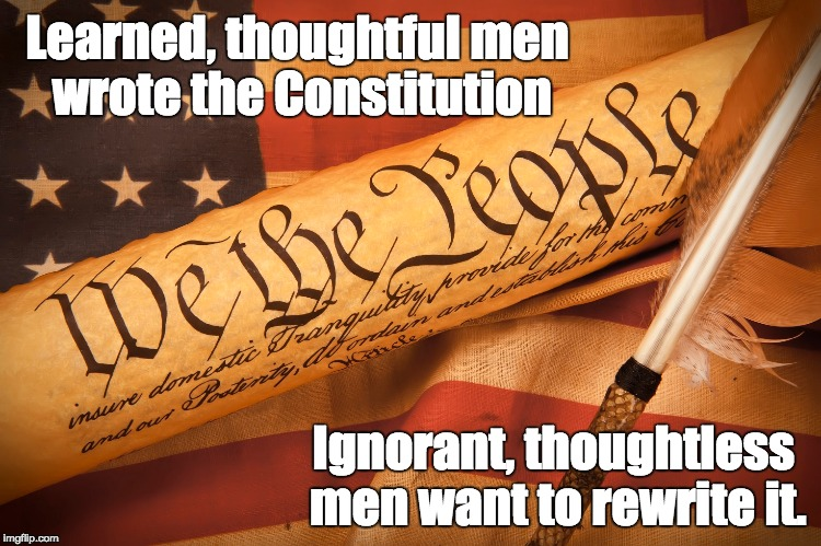 Democracy | Learned, thoughtful men wrote the Constitution Ignorant, thoughtless men want to rewrite it. | image tagged in the constitution,separation of powers | made w/ Imgflip meme maker