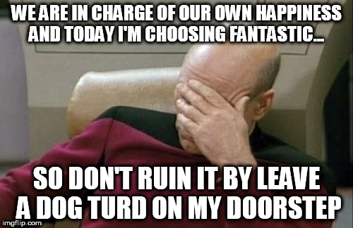 Captain Picard Facepalm Meme | WE ARE IN CHARGE OF OUR OWN HAPPINESS AND TODAY I'M CHOOSING FANTASTIC... SO DON'T RUIN IT BY LEAVE A DOG TURD ON MY DOORSTEP | image tagged in memes,captain picard facepalm | made w/ Imgflip meme maker