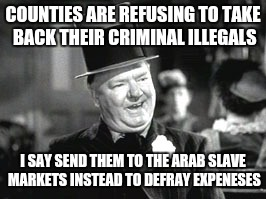 COUNTIES ARE REFUSING TO TAKE BACK THEIR CRIMINAL ILLEGALS I SAY SEND THEM TO THE ARAB SLAVE MARKETS INSTEAD TO DEFRAY EXPENESES | image tagged in w c in bar | made w/ Imgflip meme maker