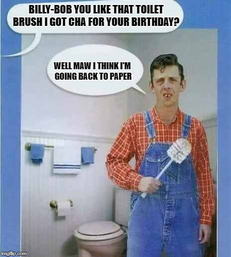 Billy-bob you like that toilet brush i got cha for your birthday?  | BILLY-BOB YOU LIKE THAT TOILET BRUSH I GOT CHA FOR YOUR BIRTHDAY? WELL MAW I THINK I'M GOING BACK TO PAPER | image tagged in toilet | made w/ Imgflip meme maker