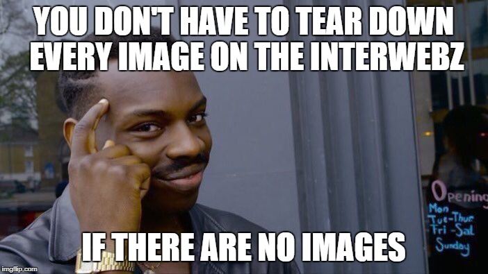 Roll Safe Think About It Meme | YOU DON'T HAVE TO TEAR DOWN EVERY IMAGE ON THE INTERWEBZ IF THERE ARE NO IMAGES | image tagged in memes,roll safe think about it | made w/ Imgflip meme maker