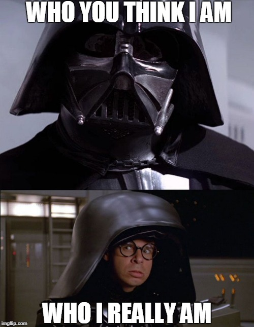 Darth Helmet | WHO YOU THINK I AM WHO I REALLY AM | image tagged in dark helmet,darth vader,who am i | made w/ Imgflip meme maker