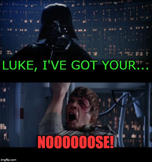 Star Wars No Meme | LUKE, I'VE GOT YOUR... NOOOOOOSE! | image tagged in memes,star wars no | made w/ Imgflip meme maker