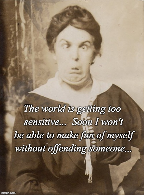 Too sensitive... | The world is getting too sensitive...  Soon I won't be able to make fun of myself without offending someone... | image tagged in world,make fun,offending,sensitive,someone | made w/ Imgflip meme maker