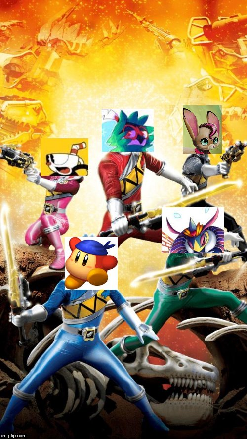 Holy Crap!!! It's The Squad!!! | image tagged in power rangers dino charge,kirby,cuphead,pokemon,squad | made w/ Imgflip meme maker