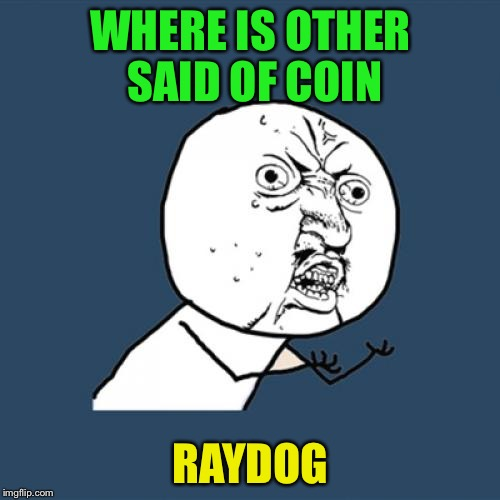 Y U No Meme | WHERE IS OTHER SAID OF COIN RAYDOG | image tagged in memes,y u no | made w/ Imgflip meme maker
