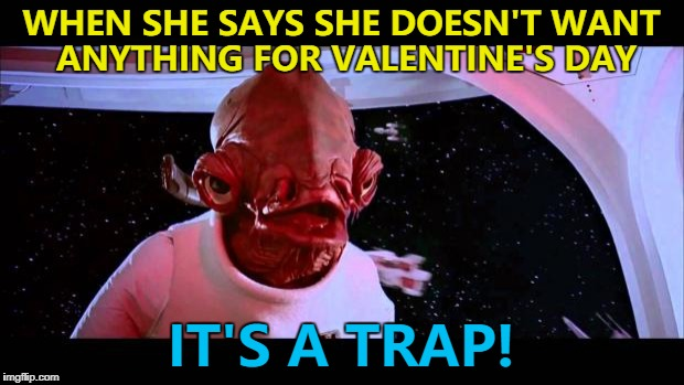A classic... :) | WHEN SHE SAYS SHE DOESN'T WANT ANYTHING FOR VALENTINE'S DAY IT'S A TRAP! | image tagged in it's a trap,memes,valentine's day,star wars,admiral ackbar | made w/ Imgflip meme maker