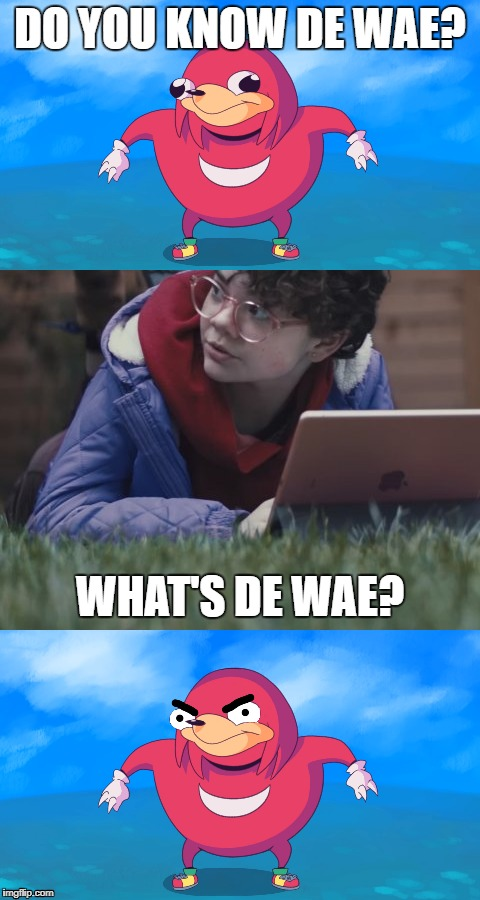 What's De Wae? |  DO YOU KNOW DE WAE? WHAT'S DE WAE? | image tagged in ugandan knuckles,computer,de wae,what's a computer | made w/ Imgflip meme maker