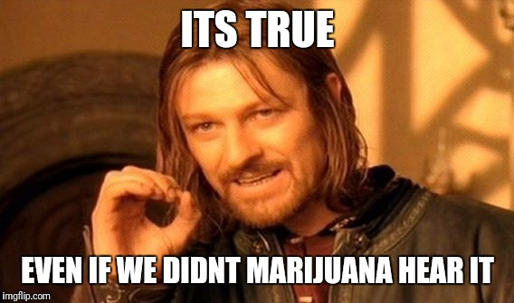 One Does Not Simply Meme | ITS TRUE EVEN IF WE DIDNT MARIJUANA HEAR IT | image tagged in memes,one does not simply | made w/ Imgflip meme maker