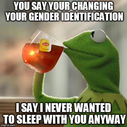 But Thats None Of My Business Meme | YOU SAY YOUR CHANGING YOUR GENDER IDENTIFICATION I SAY I NEVER WANTED TO SLEEP WITH YOU ANYWAY | image tagged in memes,but thats none of my business,kermit the frog | made w/ Imgflip meme maker