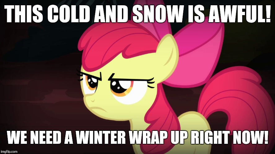 I hate the current winter weather! | THIS COLD AND SNOW IS AWFUL! WE NEED A WINTER WRAP UP RIGHT NOW! | image tagged in angry applebloom,memes,winter,winter wrap up,spring | made w/ Imgflip meme maker