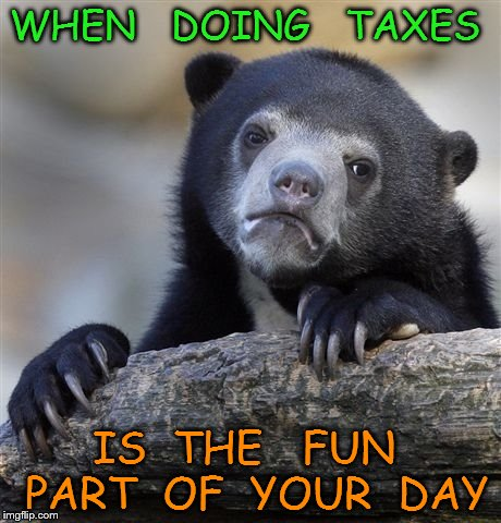 Confession Bear Meme | WHEN   DOING   TAXES IS  THE   FUN  PART  OF  YOUR  DAY | image tagged in memes,confession bear | made w/ Imgflip meme maker