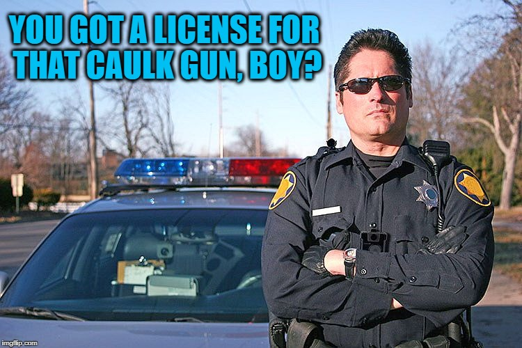 police | YOU GOT A LICENSE FOR THAT CAULK GUN, BOY? | image tagged in police | made w/ Imgflip meme maker