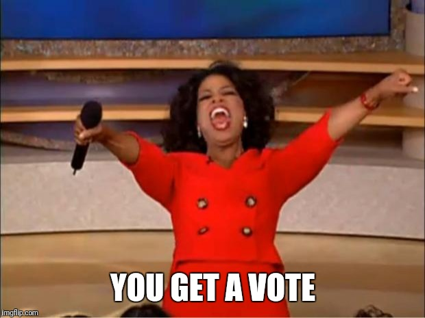 Oprah You Get A Meme | YOU GET A VOTE | image tagged in memes,oprah you get a | made w/ Imgflip meme maker